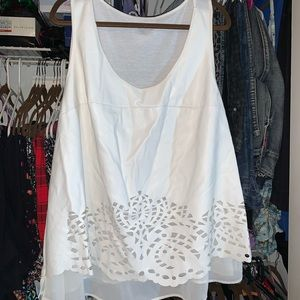 White Leather Look Cut Out Tank with Lining